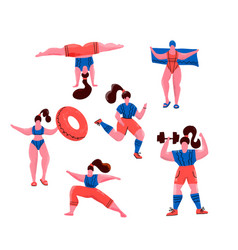 women doing sports poses yoga exercises vector image