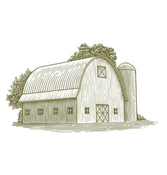 Woodcut round roof barn vector