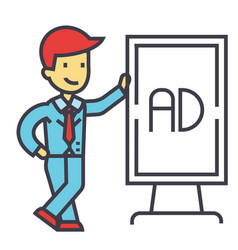 Young businessman with white stand board concept vector