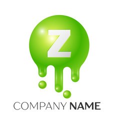 Z letter splash green dots and bubbles letter vector