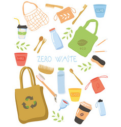 zero waste icon collection with recyclables vector image