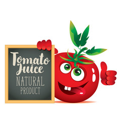 banner for fresh juice with funny tomato vector image