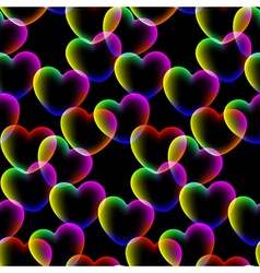 Colors hearts dark background seamless pattern vector image
