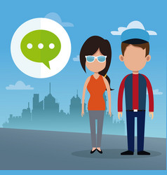 couple dialog bubble social media urban background vector image