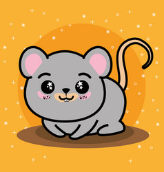 cute and lovely mouse cartoon vector image