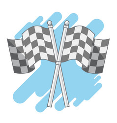 double checkered flags isolated flat cute vector image