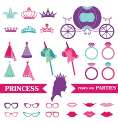 Princess Party set - photobooth props vector image vector image