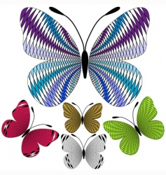 set abstract mosaic butterflies vector image vector image