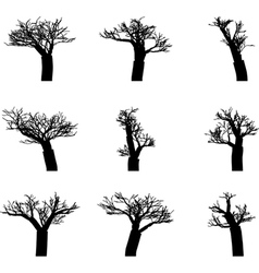 set of winter trees without leaves silhouettes vector image vector image