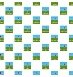 Soccer field corner with red flag pattern vector