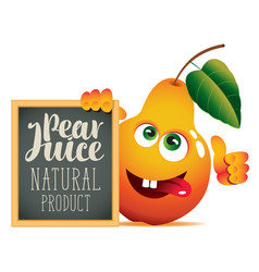 banner for fresh juice with funny pear vector image