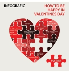 Heart pazzle How to be happy in Valentines day vector image