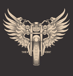 monochrome of motorcycle with vector image