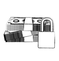 monochrome sketch of bills and coins with padlock vector image vector image