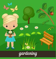 cute girl holding flower in garden vector image