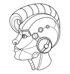 steam punk style girl head coloring book vector image vector image