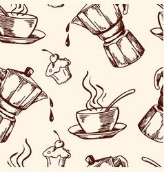vintage coffee seamless pattern vector image
