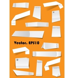 White paper notes and scraps attached with pins vector image vector image