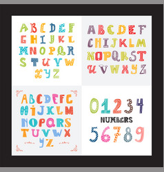 collection of three funny alphabets and set of vector image vector image