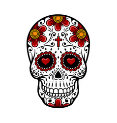 day of the dead skull sugar flower tattoo vector image vector image