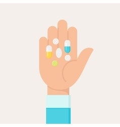 Hand with Colourful Medicine Pills Flat vector image