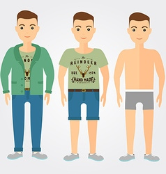 Man outfits underwear casual and sport in flat vector image vector image