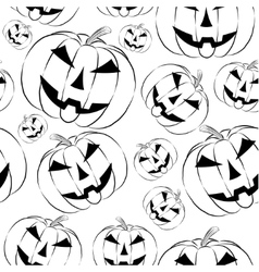 Pumpkin lantern icon in outline style seamless vector