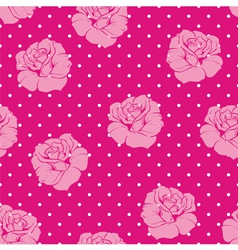 Seamless floral pink roses and dots pattern vector image vector image