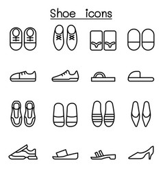 shoes icon set in thin line style vector image vector image