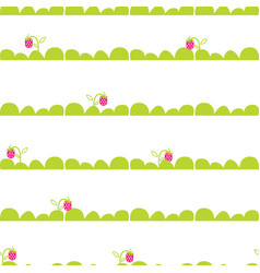 strawberry garden bed seamless pattern vector image