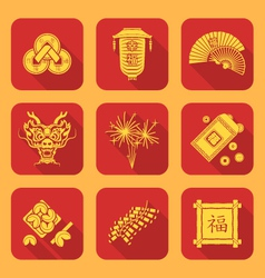 yellow color flat style chinese new year icons set vector image vector image