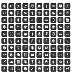 100 sport equipment icons set black vector image