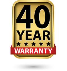40 year warranty golden label vector
