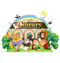 Animals reading in front of the library vector image