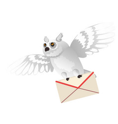 Animated polar owl holding a letter in its paws vector