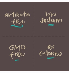Antibiotic Sodium Calories GMO Wheat Food Labels vector image