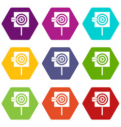 arrow in the center of target icon set color vector image