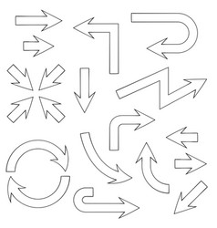 arrows flat outline icons set vector image