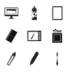 art instruments icons set simple style vector image