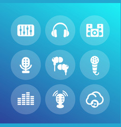 Audio icons set sound mixing console earbuds vector