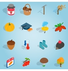 Autumn set icons isometric 3d style vector image