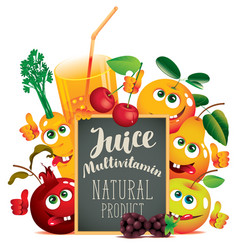 Banner for multivitamin juice with funny fruits vector