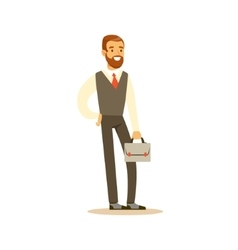 Beardy Businessman With Suitcase Business Office vector image