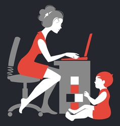 Beautiful silhouette of mother freelancer vector image