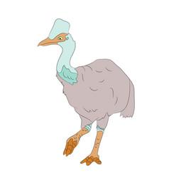 bird dinosaur drawing color vector image