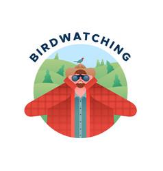 birdwatching man with binoculars and bird isolated vector image