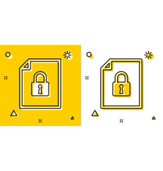Black document and lock icon isolated on yellow vector