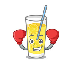 Boxing lemonade character cartoon style vector