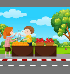 Boy selling fruits on pavement vector