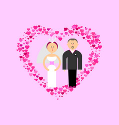 bride and groom with hearts vector image